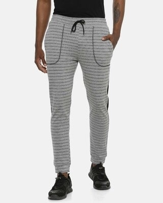 Shop Campus Sutra Men Stylish Striped Joggers-Front