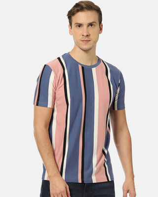 Shop Campus Sutra Men Stylish Striped Round Neck Casual T-Shirt-Front