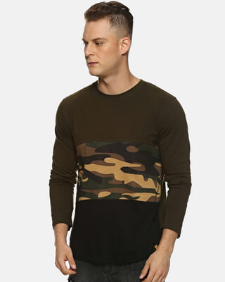 Shop Campus Sutra Military Camouflage Men Round Neck Olive T-Shirt-Front