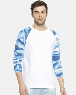 Shop Campus Sutra Military Camouflage Men Round Neck White T-Shirt-Front