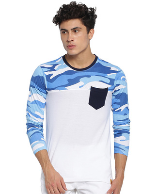 Shop Campus Sutra Military Camouflage Men's Round Neck Light Blue T-Shirt-Front