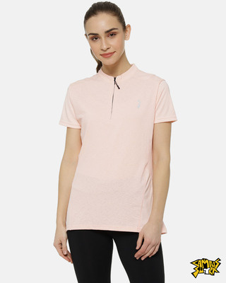 Shop Campus Sutra Pink Plain Jersey Top-Front