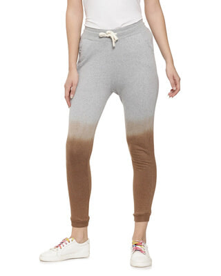 Shop Campus Sutra Printed Grey Ombre Track Pants-Front