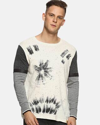 Shop Campus Sutra Printed Men Round or Crew Cream-Grey T-Shirt-Front