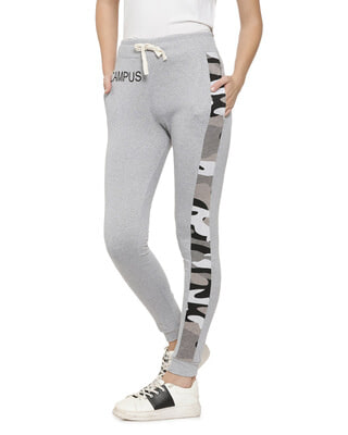 Shop Campus Sutra Printed Women Grey Track Pants-Front