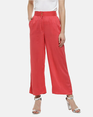 Shop Campus Sutra Regular Fit Women Red Stylish New Trends casual  Palazzos-Front