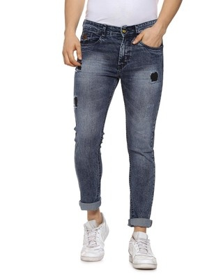 Shop Campus Sutra Slim Men  Blue Torn Jeans-Front