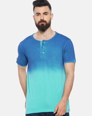 Shop Campus Sutra Solid Men Henley Green T-Shirt-Front