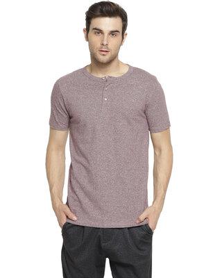 Shop Campus Sutra Solid Men Henley Light Purple T-Shirt-Front