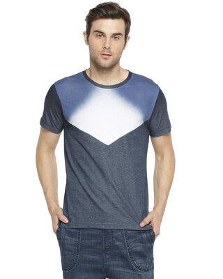 Shop Campus Sutra Solid Men Round Neck Blue T-Shirt-Front