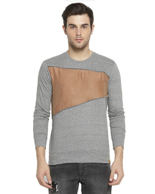 Shop Campus Sutra Solid Men Round Neck Grey T-Shirt-Front