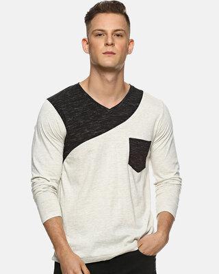 Shop Campus Sutra Solid Men V-neck Multicolor T-Shirt-Front