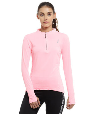 Shop Campus Sutra Solid Women Mandarin Collar Stylish Pink Sports T-Shirt-Front