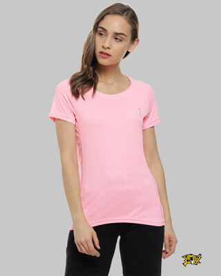 Shop Campus Sutra Solid Women Round Neck Pink Sports Jersey T-Shirt-Front