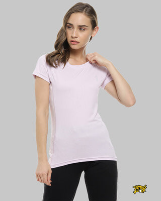 Shop Campus Sutra Solid Women Round Neck Purple Sports Jersey T-Shirt-Front