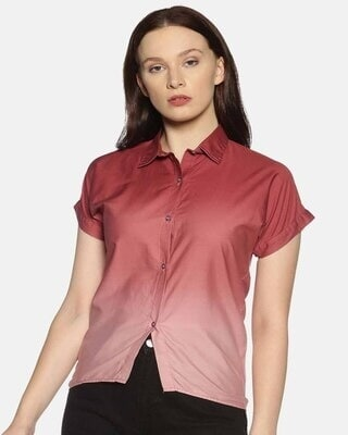 Shop Campus Sutra Women Brown Classic Regular Fit Faded Casual Shirt-Front