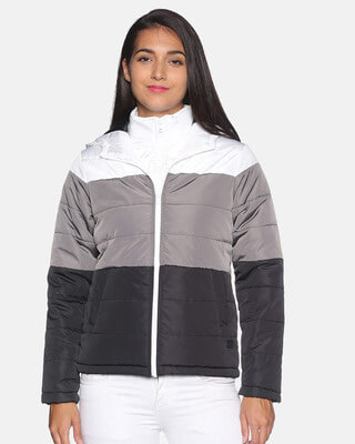 Shop Campus Sutra Women Colorblock Stylish Casual Bomber Jacket-Front