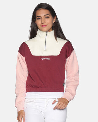 Shop Campus Sutra Women Colorblock Stylish Casual Sweatshirts-Front