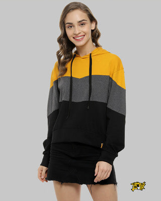 Shop Campus Sutra Women Colour Block Stylish Hooded Casual Tops -Front