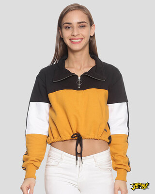 Shop Campus Sutra Women Crop Stylish Casual Sweatshirt-Front