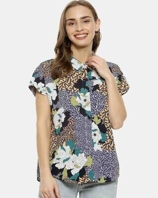 Shop Campus Sutra Women Multicoloured Regular Fit Printed Casual Shirt-Front