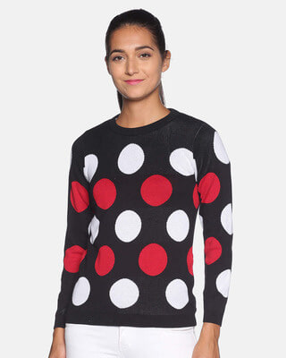 Shop Campus Sutra Women Polka Dots Stylish Casual Sweaters-Front