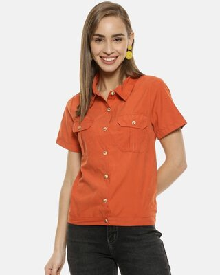Shop Campus Sutra Women Rust Regular Fit Solid Casual Shirt with Styled Back Detail-Front