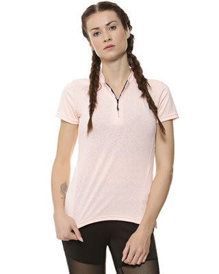 Shop Campus Sutra  Women Solid Sports Dry-Fit T-Shirt-Front