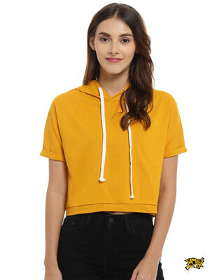 Shop Campus Sutra Women Solid Stylish Mustard Casual Crop Top-Front