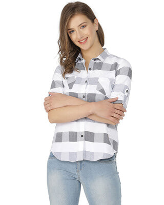 Shop Campus Sutra Women Stylish Checkered Casual Shirts-Front