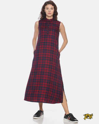 Shop Campus Sutra Women Stylish Checks Long Casual Dress-Front
