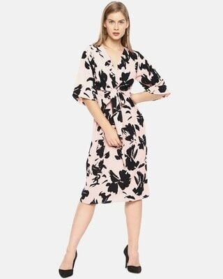 Shop Campus Sutra Women Stylish Floral Design & Front Drawstring Casual Dresses-Front