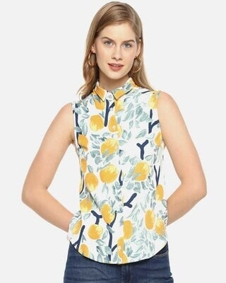 Shop Campus Sutra Women Stylish Floral Design Sleeveless Casual Tops-Front