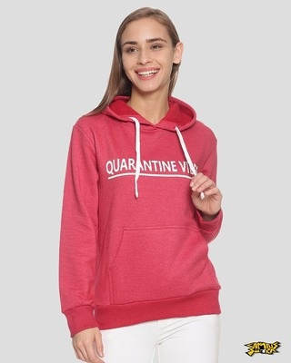 Shop Campus Sutra Women Stylish Printed Hooded Sweatshirt-Front