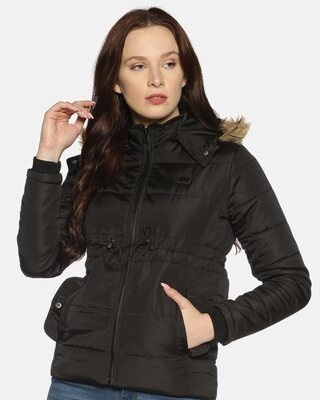 Shop Campus Sutra Women Stylish Solid Casual Bomber Jacket-Front