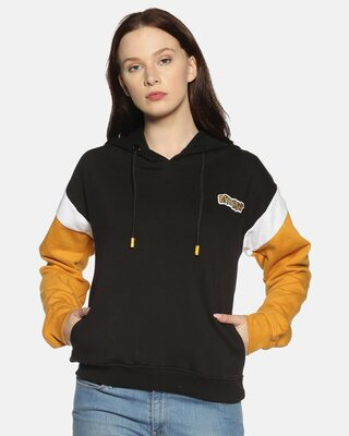 Shop Campus Sutra Women Stylish Solid Casual Hooded Sweatshirts-Front