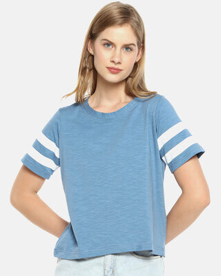 Shop Campus Sutra Women Stylish Solid Half Sleeve Casual Tops-Front