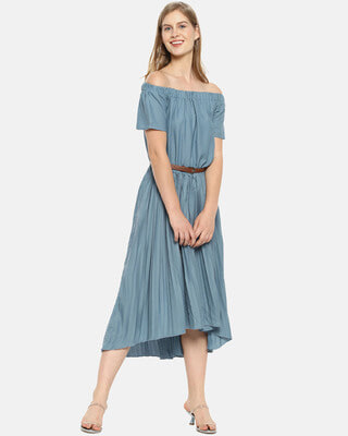 Shop Campus Sutra Women Stylish Solid With Belt Casual Dresses-Front