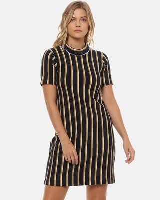 Shop Campus Sutra Women Stylish Striped Design Bodycon Casual Dresses-Front