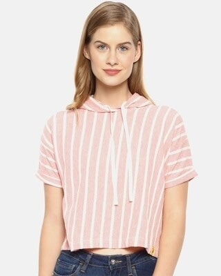 Shop Campus Sutra Women Stylish Striped Half Sleeve Casual Tops-Front