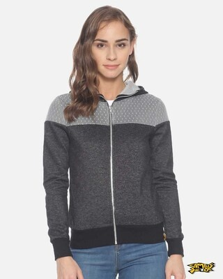 Shop Campus Sutra Women Stylish Zipper Hooded Sweatshirt-Front