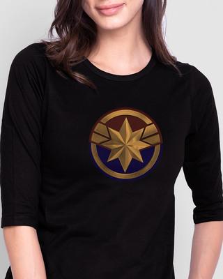 Shop Cap Logo Round Neck 3/4 Sleeve T-Shirts (AVEGL)-Front