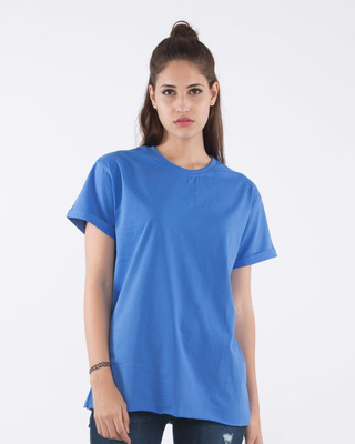 Buy Capri Blue Boyfriend T-Shirt Online India @ Bewakoof.com