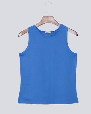 Shop Capri Blue Raw Edge Tank Top-Front