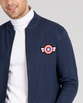 Shop Captain America Badge Zipper Bomber Jacket-Front