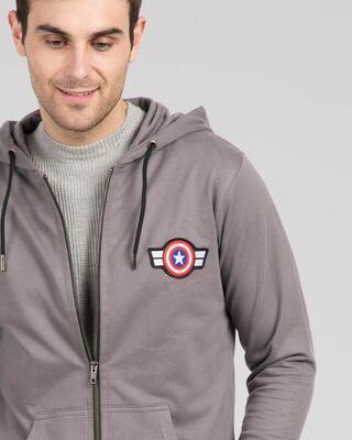 Shop Captain America Badge Zipper Hoodie-Front