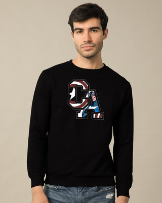 Shop Captain America Clip Fleece Sweater (AVL)-Front