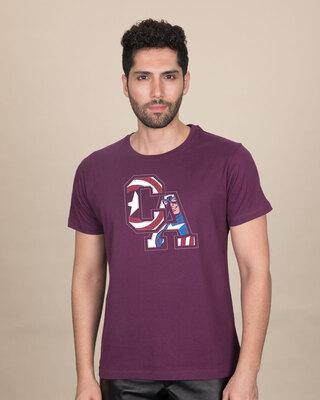 Shop Captain America Clip Half Sleeve T-Shirt (AVL)-Front
