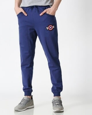 Shop Captain America Galaxy Blue Badge Joggers-Front