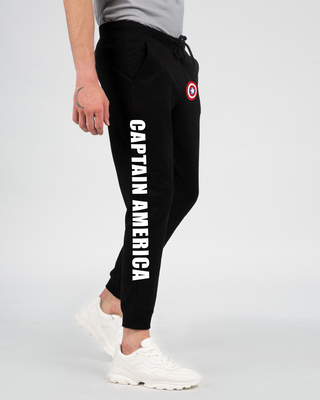 Shop Captain America Hyper Print Joggers (DL) Black-Front